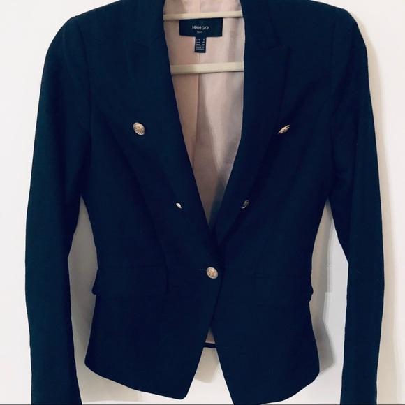 MANGO Women's Navy Linen Blazer Sz Sm